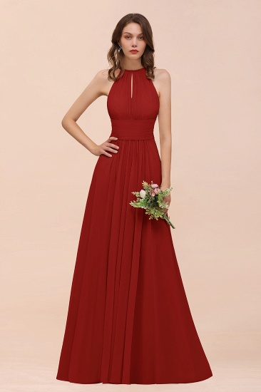 Elegant Chiffon Jewel Ruffle Champagne Affordable Bridesmaid Dress Online_48