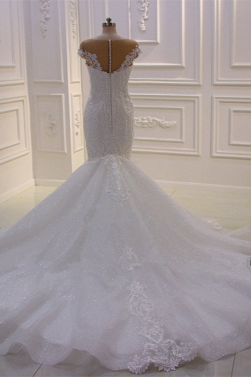 BMbridal Elegant Jewel Tulle Lace Sequined Wedding Dress Mermaid Appliques Sleeveless Bridal Gowns On Sale_3