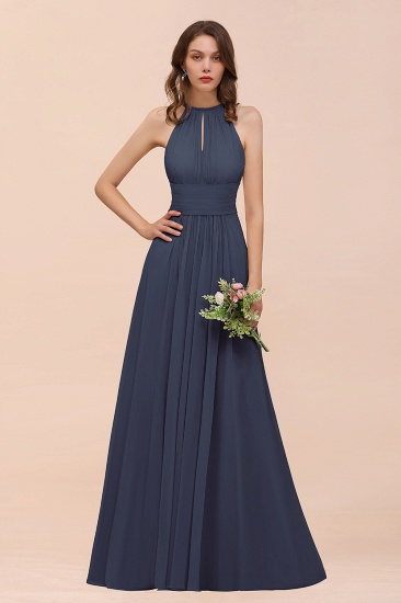 Elegant Chiffon Jewel Ruffle Champagne Affordable Bridesmaid Dress Online_39