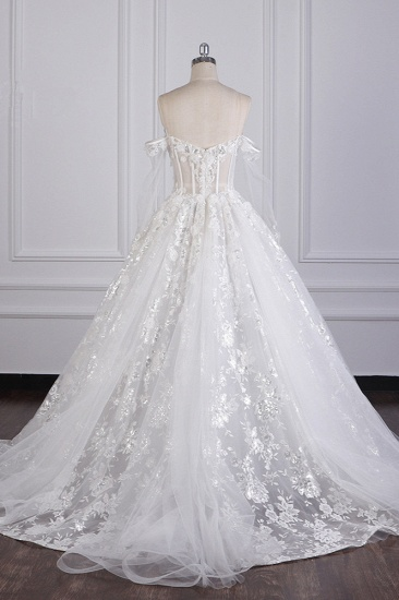 BMbridal Gorgeous Ball Gown Strapless Tulle Lace Wedding Dress Sleeveless Appliques Sequins Bridal Gowns_4