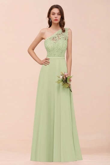 New Arrival Dusty Rose One Shoulder Lace Long Bridesmaid Dress_35