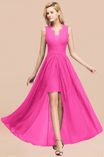 BMbridal Elegant Chiffon Lace Jewel Sleeveless Bridesmaid Dress with Ruffle_9
