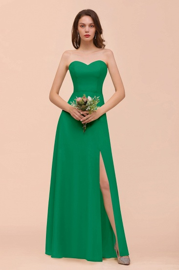 BMbridal Affordable Strapless Front Slit Long Dusty Sage Bridesmaid Dress_49