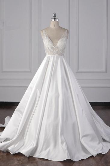BMbridal Elegant Satin V-Neck Wedding Dress Lace Appliques Sleeveless Bridal Gowns On Sale_1