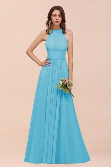 Elegant Chiffon Jewel Ruffle Champagne Affordable Bridesmaid Dress Online_24