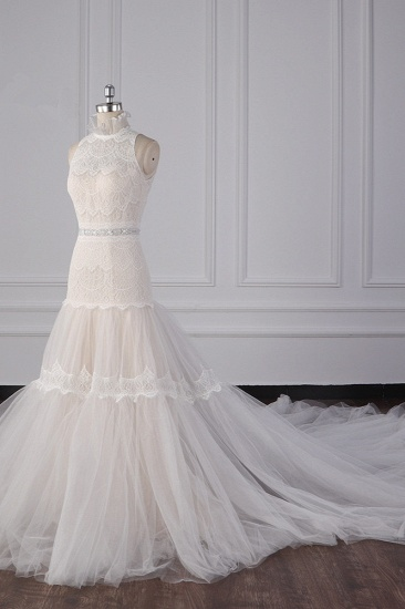 BMbridal Chic High-Neck Tulle Lace Wedding Dress Appliques Sleeveless Bridal Gowns with Beading Sashes Online_3