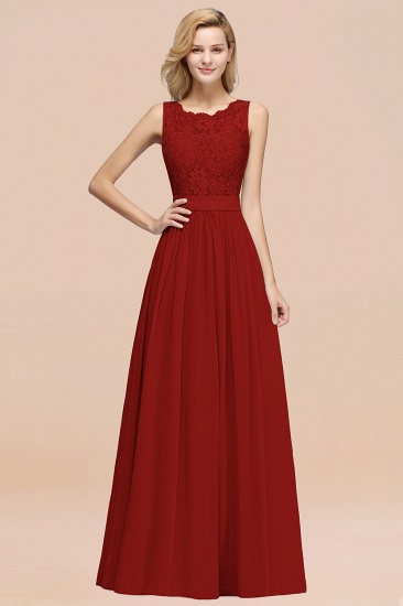 Elegant Chiffon Lace Scalloped Sleeveless Ruffle Bridesmaid Dresses_48