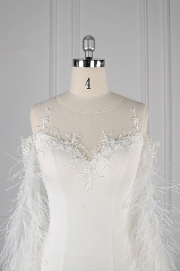 BMbridal Chic Jewel Sleeveless White Chiffon Wedding Dress Mermaid Appliques Bridal Gowns with Fur Onsale_5