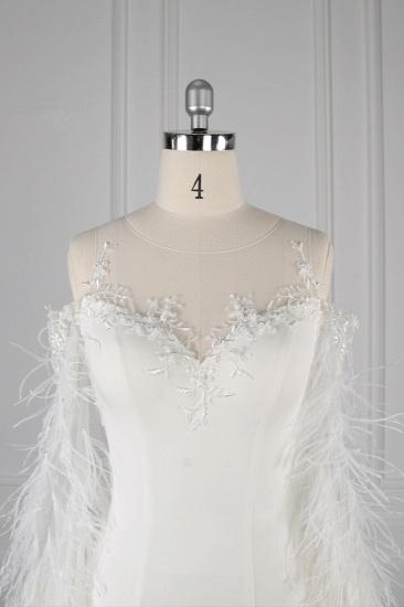 Chic Jewel Sleeveless White Chiffon Wedding Dress Mermaid Appliques Bridal Gowns with Fur Onsale_5