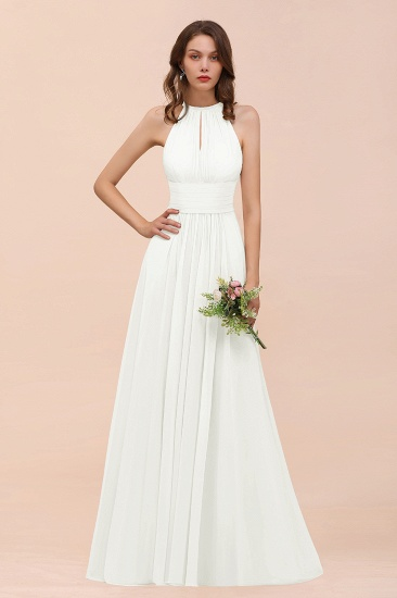 Elegant Chiffon Jewel Ruffle Champagne Affordable Bridesmaid Dress Online_2