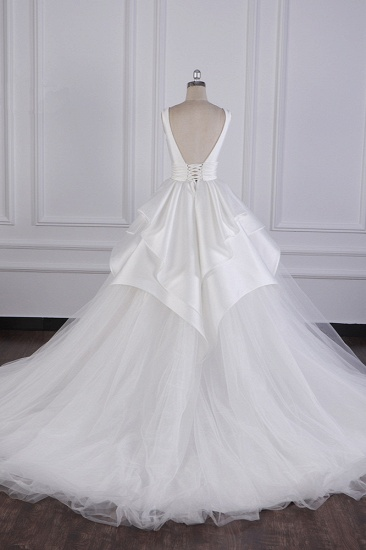 BMbridal Chic Ball Gown Jewel Layers Tulle Wedding Dress White Sleeveless Ruffles Bridal Gowns Online_4