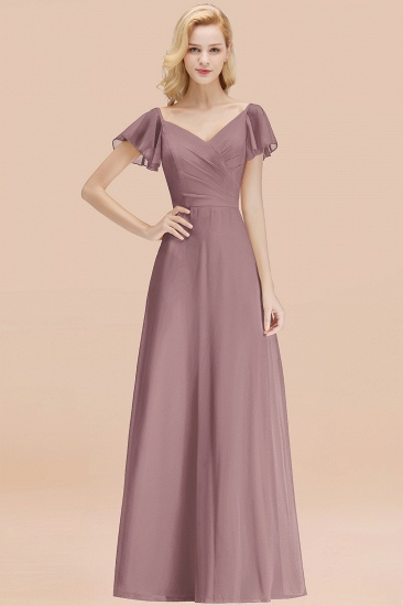 Elegent Short-Sleeve Long Bridesmaid Dress Online Yellow Chiffon Wedding Party Dress_37