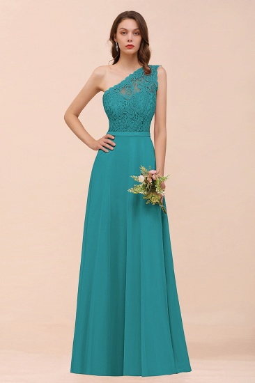 New Arrival Dusty Rose One Shoulder Lace Long Bridesmaid Dress_32