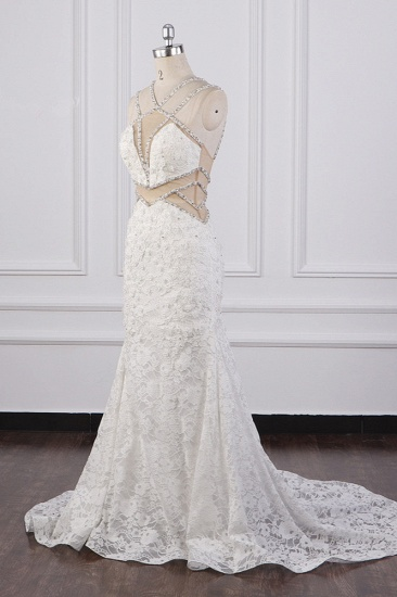 BMbridal Gorgeous Sleeveless Lace Beadings Wedding Dress Appliques Rhinestones Bridal Gowns Online_4