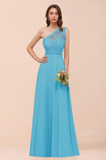 New Arrival Dusty Rose One Shoulder Lace Long Bridesmaid Dress_24