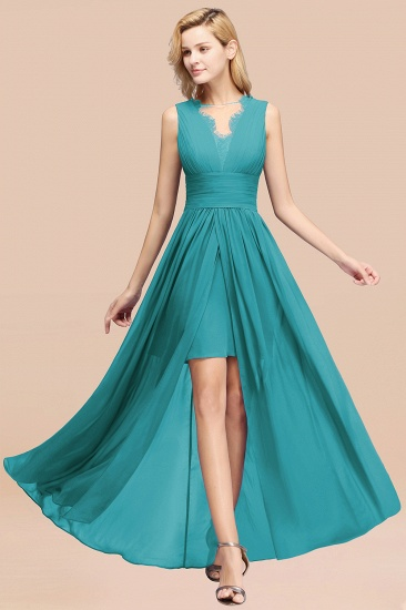 BMbridal Elegant Chiffon Lace Jewel Sleeveless Bridesmaid Dress with Ruffle_32