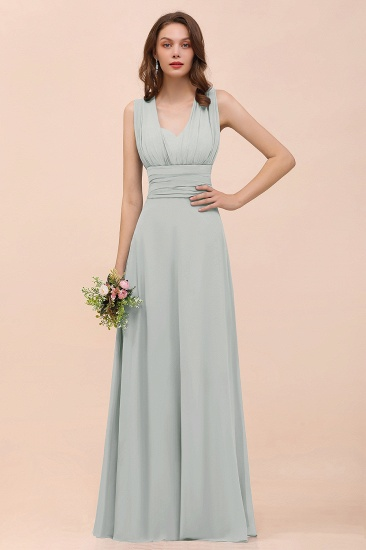 New Arrival Dusty Blue Ruched Long Convertible Bridesmaid Dresses_38