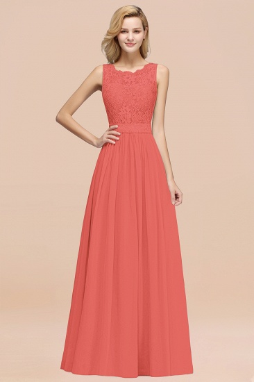 Elegant Chiffon Lace Scalloped Sleeveless Ruffle Bridesmaid Dresses_7
