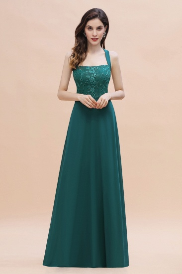 Elegant Straps Peacock Chiffon Appliques Bridesmaid Dress Sleeveless On Sale
