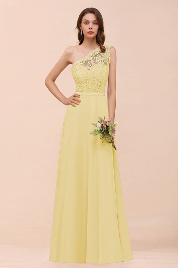 New Arrival Dusty Rose One Shoulder Lace Long Bridesmaid Dress_18