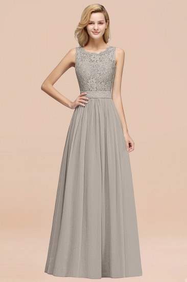 Elegant Chiffon Lace Scalloped Sleeveless Ruffle Bridesmaid Dresses_30