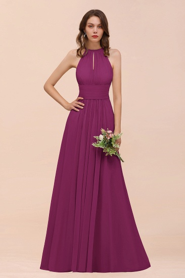 Elegant Chiffon Jewel Ruffle Champagne Affordable Bridesmaid Dress Online_42