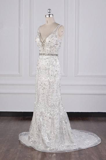 BMbridal Sparkly Sequins Straps V-Neck Wedding Dress Beadings Sleeveless Bridal Gowns with Sash On Sale_4