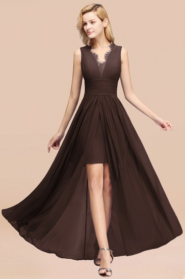BMbridal Elegant Chiffon Lace Jewel Sleeveless Bridesmaid Dress with Ruffle_11