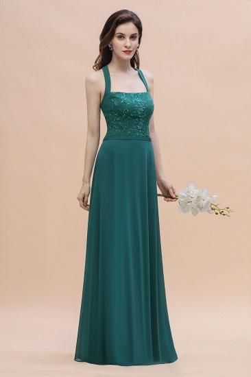 BMbridal Elegant Straps Peacock Chiffon Appliques Bridesmaid Dress Sleeveless On Sale_6