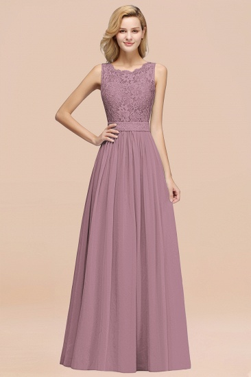 Elegant Chiffon Lace Scalloped Sleeveless Ruffle Bridesmaid Dresses_43