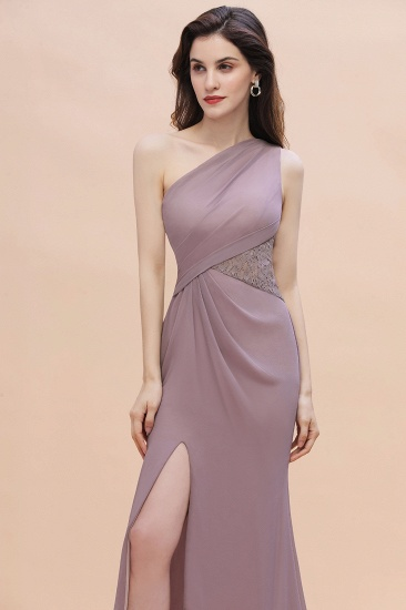 BMbridal Chic One-Shoulder Dusk Chiffon Lace Ruffle Bridesmaid Dress with Front Slit On Sale_5