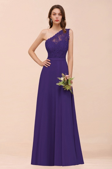 New Arrival Dusty Rose One Shoulder Lace Long Bridesmaid Dress_19