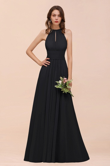 Elegant Chiffon Jewel Ruffle Champagne Affordable Bridesmaid Dress Online_29