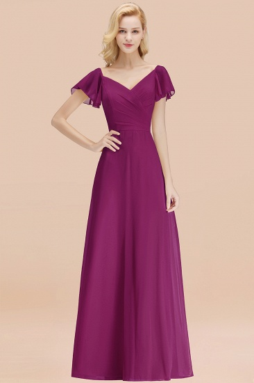 Elegent Short-Sleeve Long Bridesmaid Dress Online Yellow Chiffon Wedding Party Dress_42