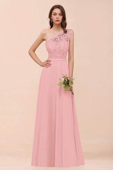 BMbridal New Arrival Dusty Rose One Shoulder Lace Long Bridesmaid Dress_4