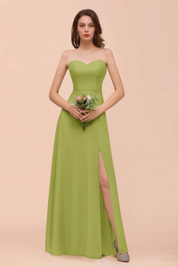 BMbridal Affordable Strapless Front Slit Long Dusty Sage Bridesmaid Dress_34