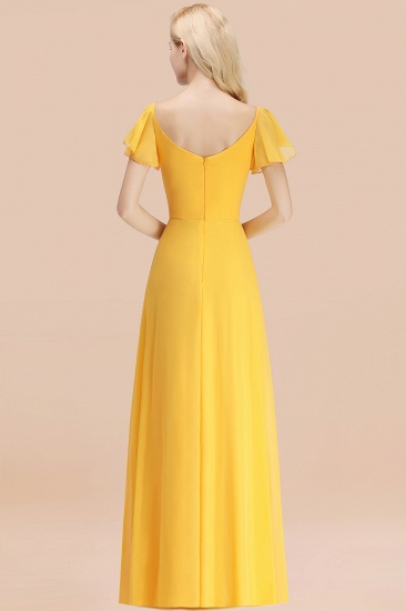 Elegent Short-Sleeve Long Bridesmaid Dress Online Yellow Chiffon Wedding Party Dress_52