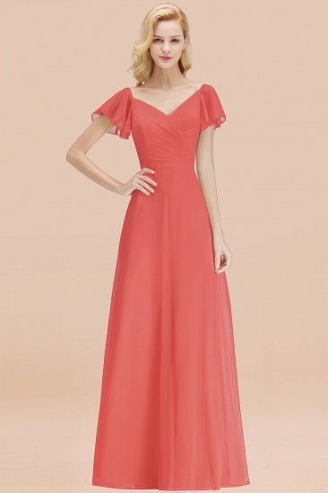 Elegent Short-Sleeve Long Bridesmaid Dress Online Yellow Chiffon Wedding Party Dress_7