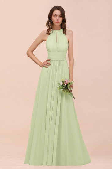 Elegant Chiffon Jewel Ruffle Champagne Affordable Bridesmaid Dress Online_35