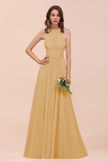 Elegant Chiffon Jewel Ruffle Champagne Affordable Bridesmaid Dress Online_13