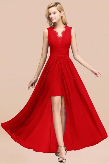 BMbridal Elegant Chiffon Lace Jewel Sleeveless Bridesmaid Dress with Ruffle_8