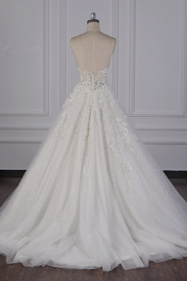 BMbridal Elegant Strapless Tulle Lace Wedding Dress Sweetheart Appliques Sequined Bridal Gowns On Sale_3