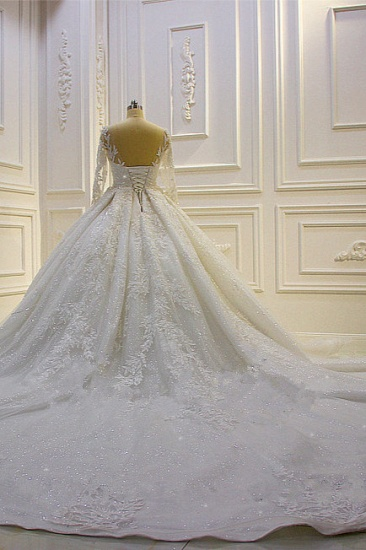 BMbridal Luxury Ball Gown Lace Appliques Beading Wedding Dress Long Sleeves Ruffles Bridal Gowns On Sale_3