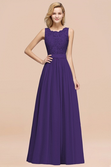 Elegant Chiffon Lace Scalloped Sleeveless Ruffle Bridesmaid Dresses_19