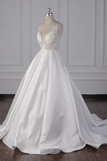 BMbridal Elegant Satin V-Neck Wedding Dress Lace Appliques Sleeveless Bridal Gowns On Sale_4