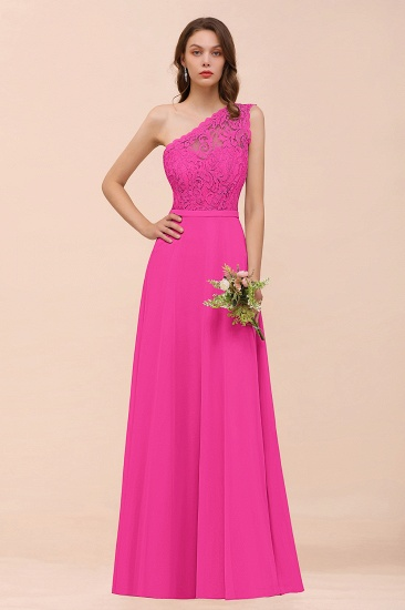 BMbridal New Arrival Dusty Rose One Shoulder Lace Long Bridesmaid Dress_9