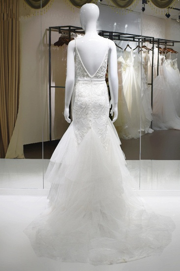 Sexy Spaghetti-Straps Tulle Wedding Dress V-Neck Sleeveless Appliques Beading Bridal Gowns On Sale_3