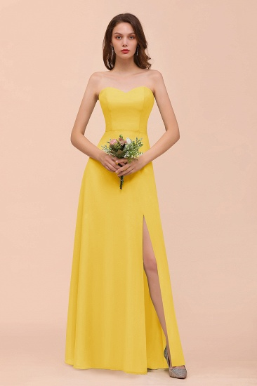 BMbridal Affordable Strapless Front Slit Long Dusty Sage Bridesmaid Dress_17