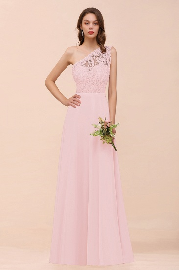 New Arrival Dusty Rose One Shoulder Lace Long Bridesmaid Dress_3