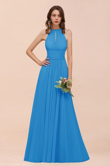Elegant Chiffon Jewel Ruffle Champagne Affordable Bridesmaid Dress Online_25